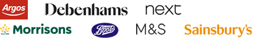 High street retailers including Argos, Boots, Debenhams, Next, M&S, Sainsbury's and WH Smith