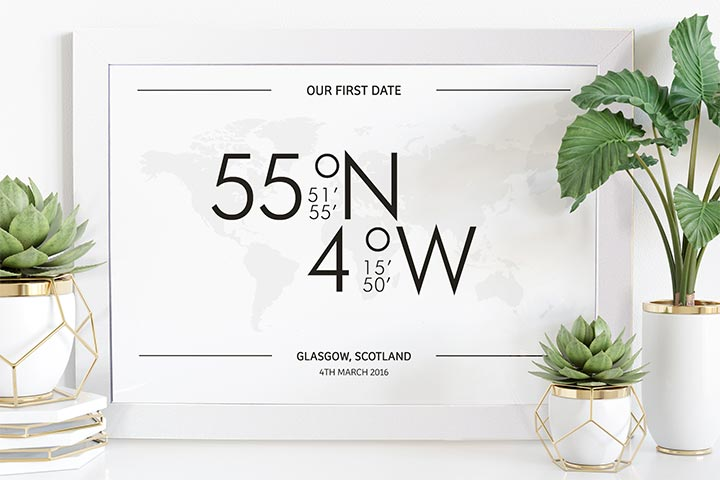 Personalised Coordinates A3 Framed Print