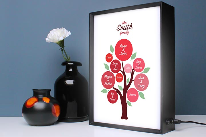 Personalised Family Tree Light Box