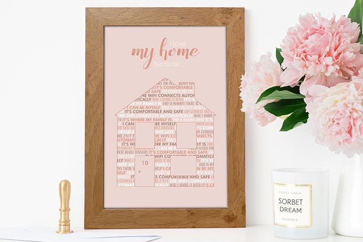 Personalised I Love My Home Because A3 Framed Print