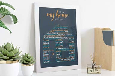 Personalised I Love My Home Because A3 Framed Print Thumb