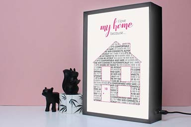 Personalised I Love My Home Because Light Box Thumb