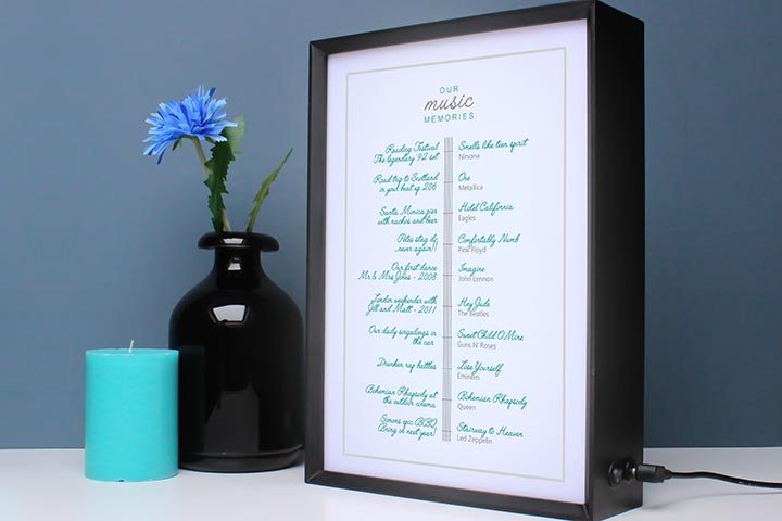 Personalised My Music Memories Light Box