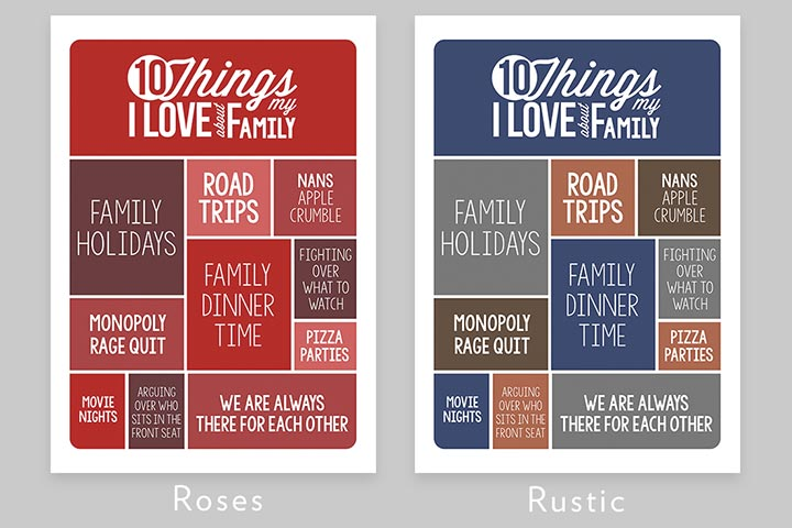 Personalised 10 Things I Love About My Family A3 Framed Print
