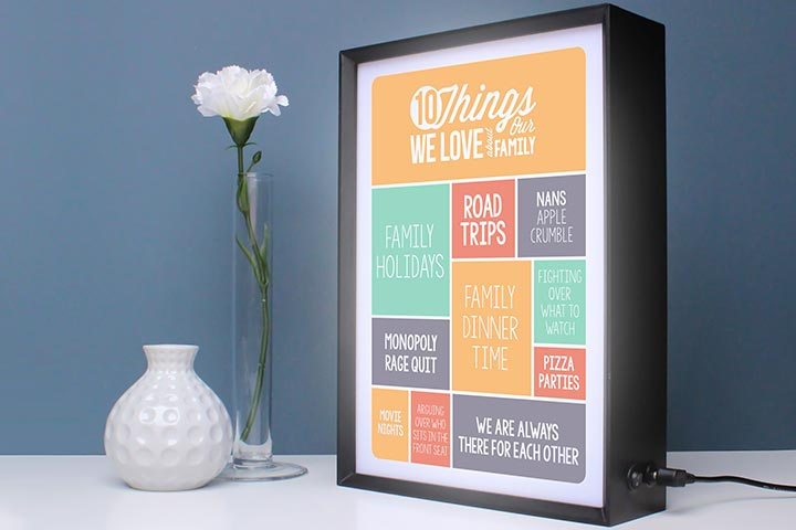 Personalised 10 Things I Love About My Family Light Box