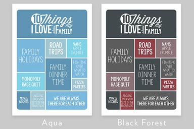 Personalised 10 Things I Love About My Family Light Box Thumb